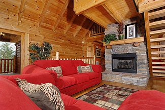 pigeon forge cabin with a gas fireplace