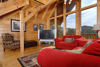 cabin with vaulted ceilings