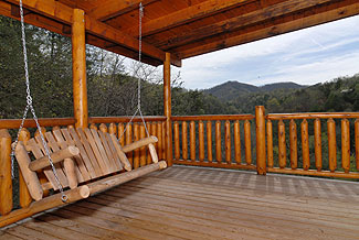 log swing overlooking a mountain view