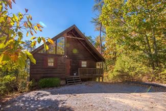 Pigeon Forge One Bedroom Cabin Rental in a Wooded Setting