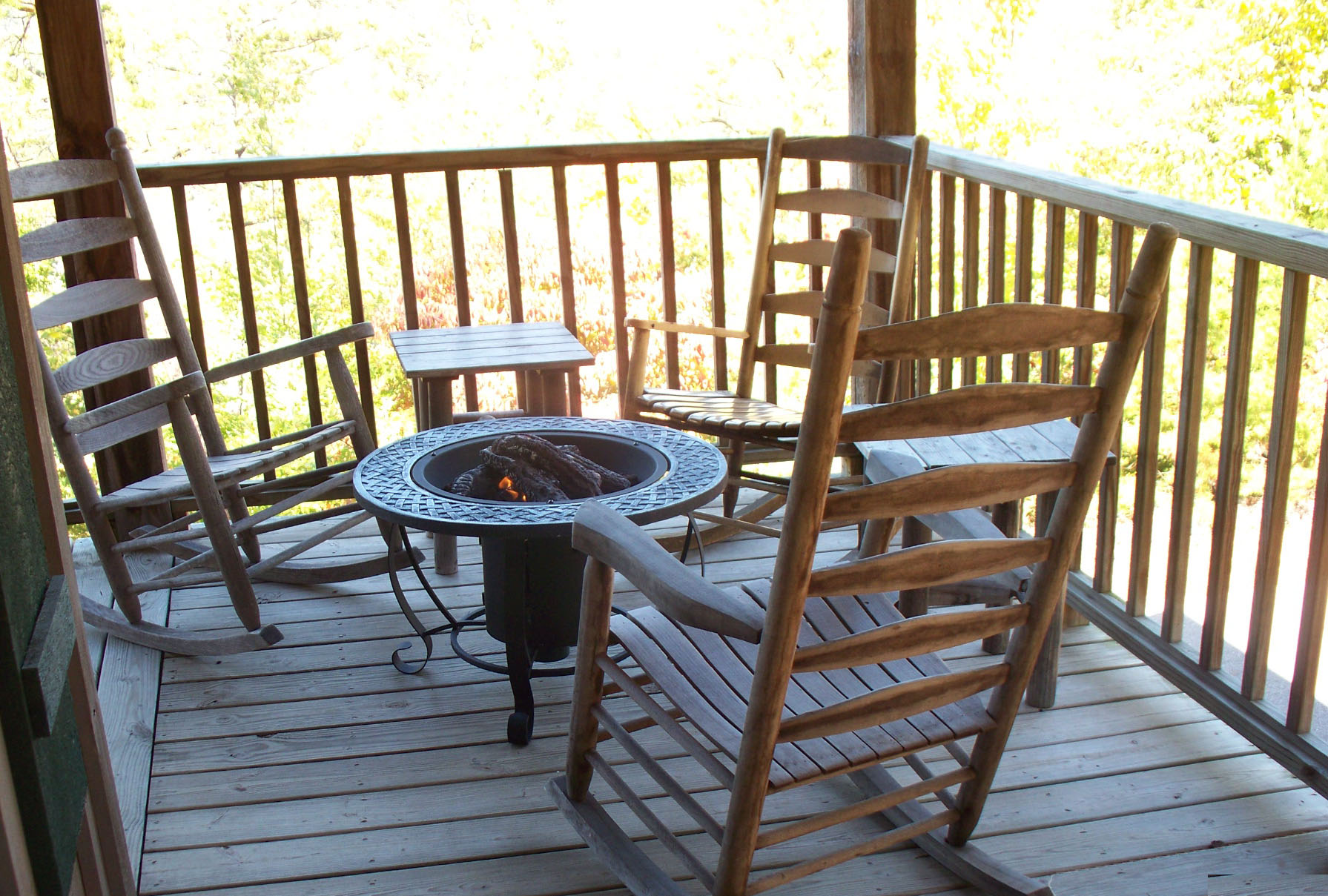 firepit on the outdoor deck