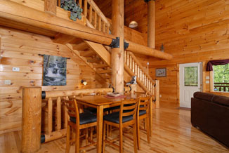 Tennessee Vacation Cabin Rental in Pigeon Forge Tennessee with a beautiful log interior