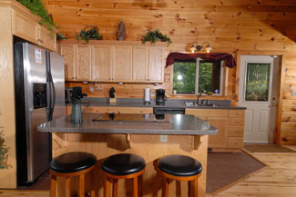 Pigeon Forge Two Bedroom Plus Loft Cabin with Barstools
