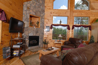 Pigeon Forge Log Cabin that features a gas fireplace