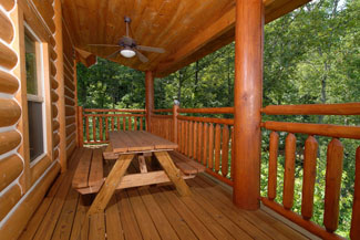Cabin that features an outdoor picnic area for grilling