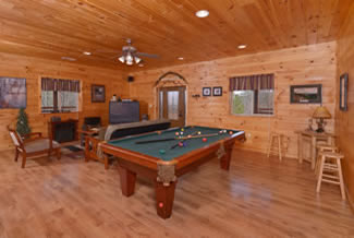 Pigeon Forge Cabin Gameroom Area Pool Table