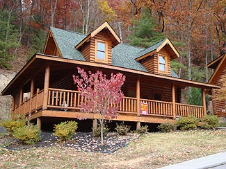 Pigeon Forge One Bedroom Cabin Rental that has outdoor swimming pool access and access to fishing