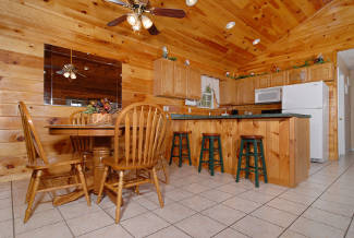 rustic cabin kitchen and dining room