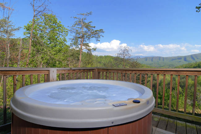 pigeon forge cabin hot tub with mountain view