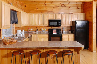 Pigeon Forge Large Cabin with a breakfast bar area that can seat four