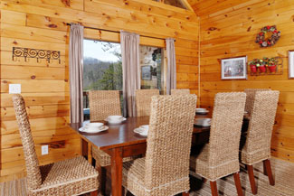 Pigeon Forge Cabin with a Dinning area for breakfast and dinner