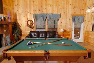 Pigeon Forge Cabin Gameroom Featuring a Pool Table