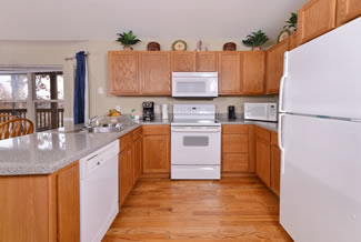 Pigeon Forge Two Bedroom Cottage Rental Fully Equipped Kitchen Area