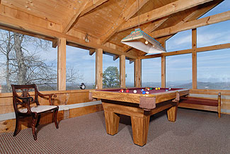 How about those great mountain views from the game room with pool table ?