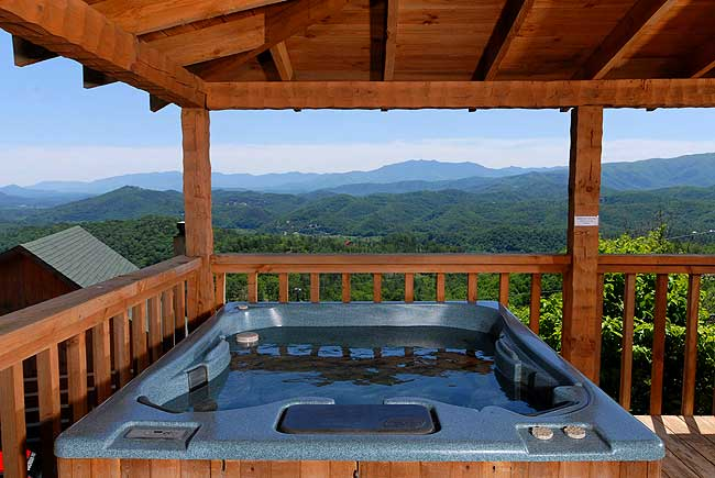 Stellar View Pigeon Forge Bluff Mountain Log Cabin With