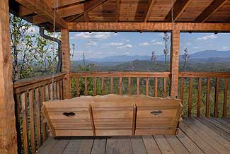 Beautiful swing for two overlooking some of the finest views in the Smokies