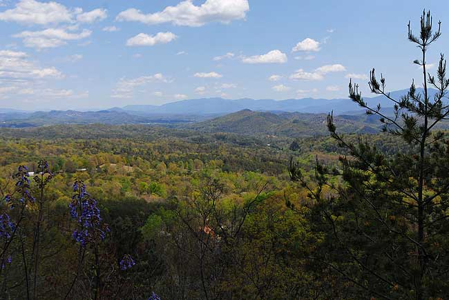 Fabulous mountain views from Angels Nest cabin on Bluff Mountain in Pigeon Forge