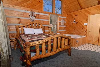 Handmade log bed with great rustic details