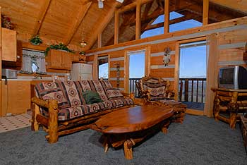 Rustic furnishings nake this beautiful cabin cozy