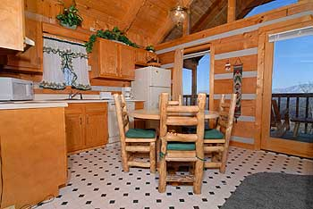 Kitchen area with log dining set