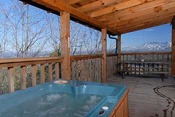 Imagine yourself in this hot tub gazing at the majestic Smoky Mountains