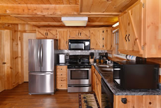 Pigeon Forge Cabin Rental One Bedroom Plus Loft fully equipped kitchen area