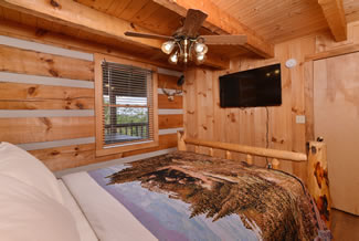 Pigeon Forge One Bedroom Plus Loft Main Level Queen Size Bed in the bedroom with access to the main level bathroom