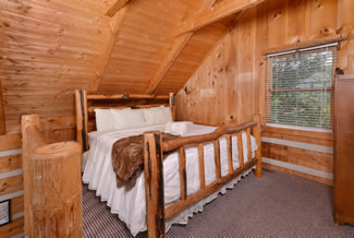 Bluff Mountain Majesty Upper Level Loft Bedroom Area that overlooks a vast mountain view