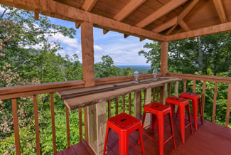 Tennessee Vacation Cabin Rental-Bluff Mountain Majesty-Deck Bar Top Overlooking the Pigeon Forge-Gatlinburg Mountains