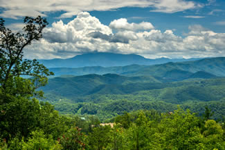 Pigeon Forge One Bedroom Plus Loft Cabin Rental with a Large Mountain Range View