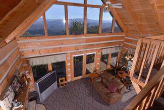 Pigeon Forge Cabin Rental Livingroom Area with a panoramic Mountain View