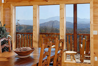 Dinning area with s great mountain view. Enjoy dinner in the Smokies.