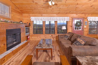 Pigeon Forge One Bedroom Cabin Rental Living Room Area