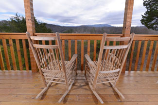 Pigeon Forge Cabin Rental Outdoor Rockers Overlooking a Mountain View