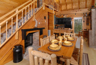 Pigeon Forge Cabin with a beautiful kitchen with a gas fireplace
