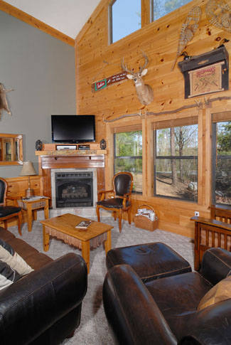 Pigeon Forge Cabin Living Room Area with a Flat Screen Tv and a Gas Fireplace