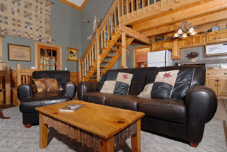 Pigeon FOrge Cabin with Leather Couches in the Living Room Area