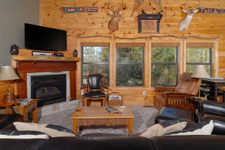 Pigeon Forge Livingroom area with a wooded view