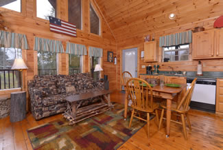 Pigeon Forge One Bedroom Plus Loft Cabin Rental that features a Fully Equipped Kitchen