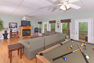 Pigeon Forge Three Bedroom Chalet Rental Lower Level Gameroom Area