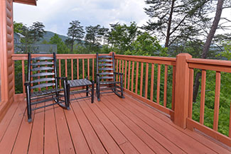 Pigeon Forge Chalet Rental Upper Level Deck Area Rockers