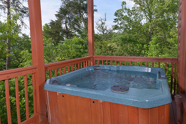Pigeon Forge Cabin Rental Large Hot Tub on the Lower Level Deck Area