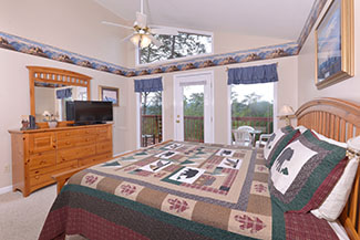 Comfortable Three Bedroom Cabin Rental Bedroom Area