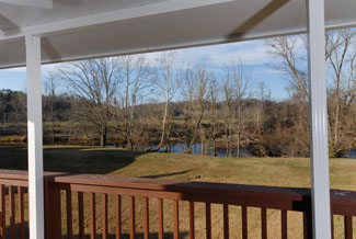 Pigeon Forge Little Pigeon River Riverfront Chalet Outdoor Covered Porch