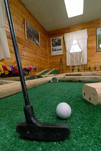 Fireside Chalets even has one cabin with an INDOOR miniature golf course !!