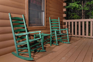 Pigeon Forge Cabin that Features Cozy Rocking Chairs