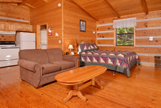 Pigeon Forge Studio Cabin Rental Bedroom with the Log Cabin