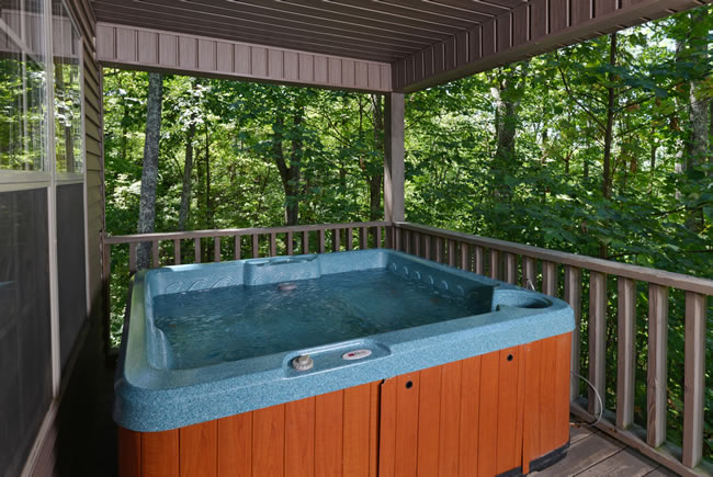 Pigeon Forge Two Bedroom Cabin Rental that features an outdoor hot tub