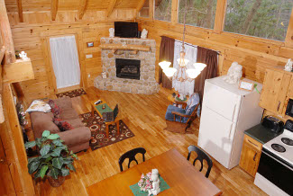 Pigeon Forge Lofted Gameroom overlooking the livingroom area