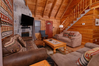 Gatlinburg Two Bedroom Cabin Rental Living Room Area